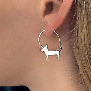 Chihuahua Hoop Earrings - Silver/14K Gold-Plated |Line - WeeShopyDog