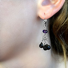 Load image into Gallery viewer, Boho Chandelier  - Silver Amethyst and Smoky Quartz - Dangle Leverback Earrings - WeeShopyDog