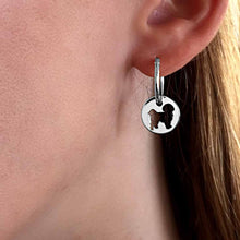 Load image into Gallery viewer, Shih Tzu Charm Hoop Earrings - Silver/14K Gold-Plated |Line Circle