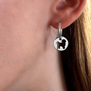 Shih Tzu Charm Hoop Earrings - Silver/14K Gold-Plated |Line Circle