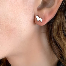 French Bulldog Necklace and Stud Earrings SET - Silver/14K Gold-Plated |Line