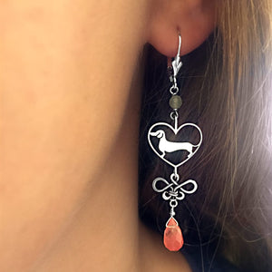 Dachshund Dangle Earrings - Silver and Cherry Quartz |Line Heart - WeeShopyDog