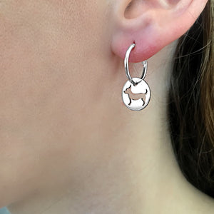 Chihuahua Charm Hoop Earrings - Silver/14K Gold-Plated |Line Circle