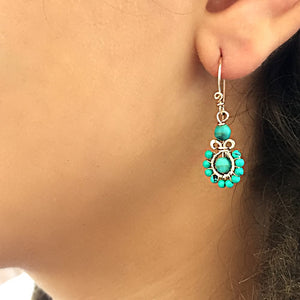 Boho Flower - 14K Gold Filled and Turquoise - Dangle Drop Earrings - WeeShopyDog