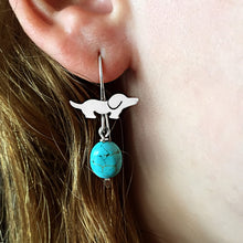 Dachshund Dog Fun - Silver and Turquoise Dangle Drop Earrings - WeeShopyDog