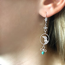 Load image into Gallery viewer, Dachshund Dangle Earrings - Silver and Turquoise |Image - WeeShopyDog