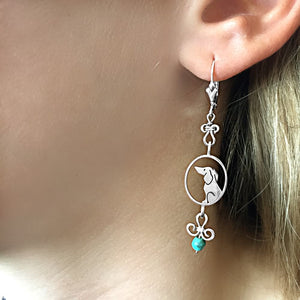 Dachshund Dangle Earrings - Silver and Turquoise |Image - WeeShopyDog
