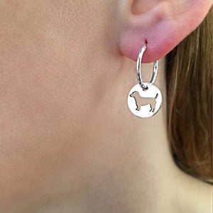 Jack Russell Hoop Dangle Earrings - Silver - WeeShopyDog