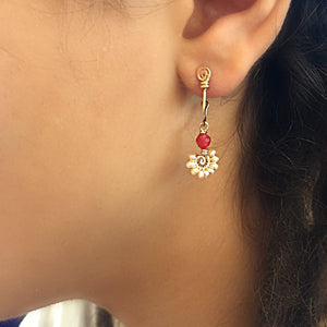 Boho Spiral - 14K Gold Filled Red painted Jade and Pearls - Dangle Stud Hoop Earrings - WeeShopyDog