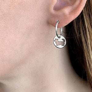 Cardigan Corgi Charm Hoop Earrings - Silver - WeeShopyDog