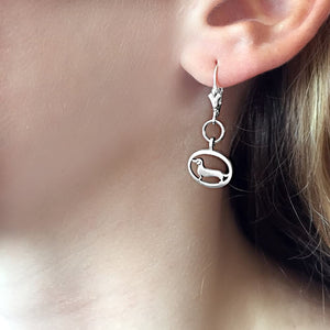 Dachshund Dangle Leverback Earrings - Silver |Line Oval - WeeShopyDog