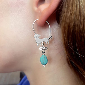 Dachshund Hoop Earrings - Silver and Turquoise |Beauty - WeeShopyDog