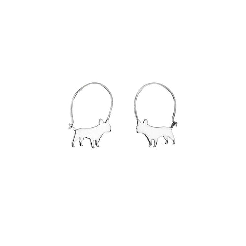 French Bulldog Hoop Earrings - Silver/14K Gold-Plated |Line - WeeShopyDog