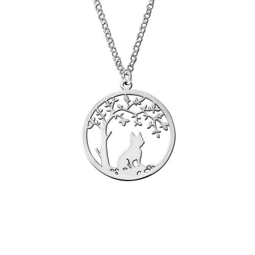 French Bulldog Little Tree Of Life Pendant Necklace - Silver/14K Gold-Plated - WeeShopyDog