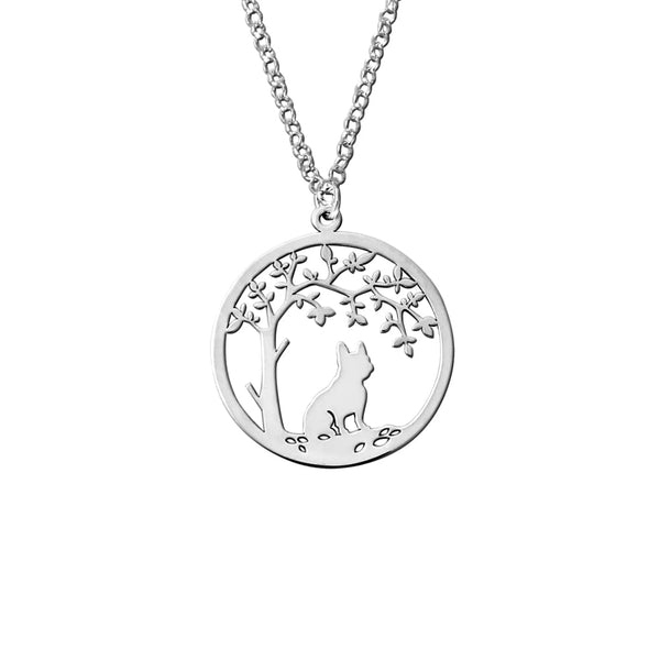 French Bulldog Little Tree Of Life - Silver Pendant Necklace - WeeShopyDog