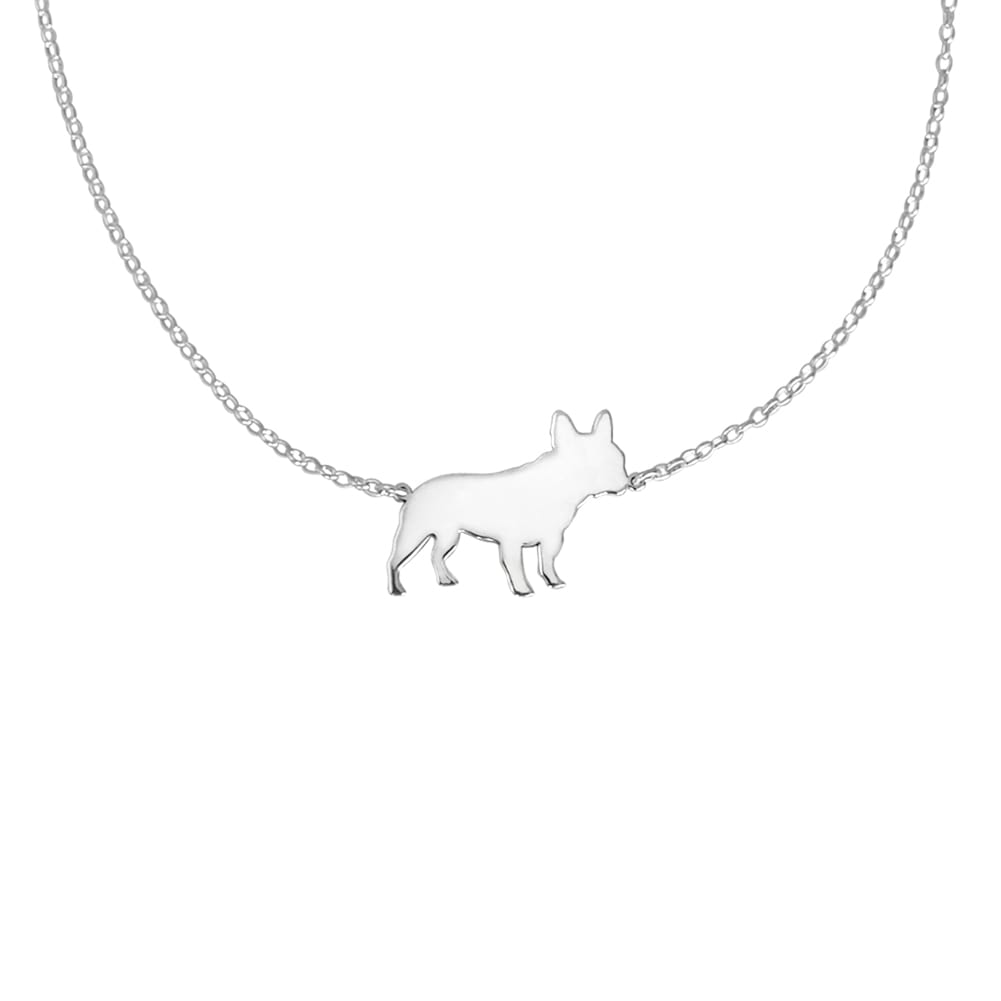 French Bulldog Pendant Necklace - Silver/14K Gold-Plated |Line - WeeShopyDog