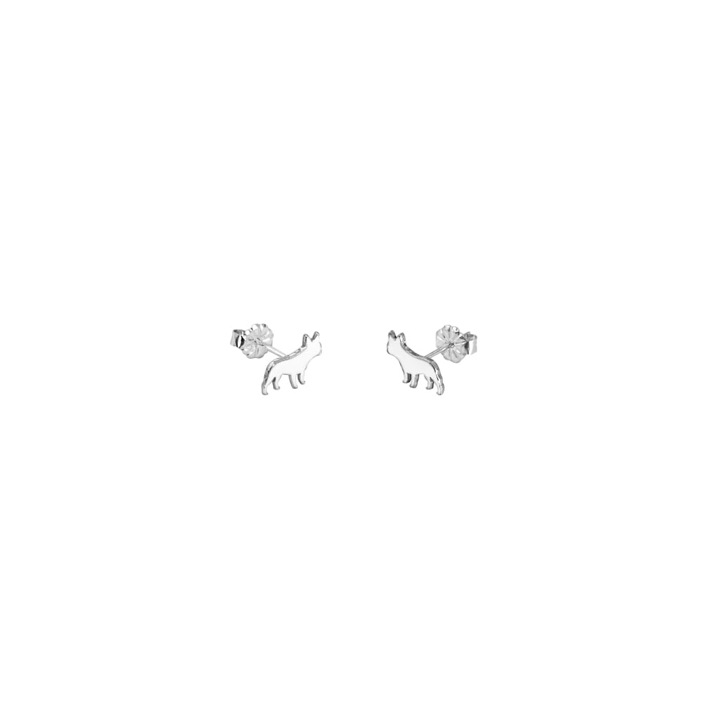 French Bulldog Stud Earrings - Silver/14K Gold-Plated |Line - WeeShopyDog
