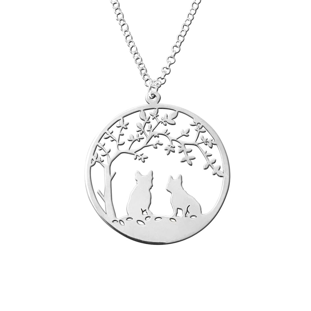 French Bulldog Tree Of Life - Silver Pendant Necklace - WeeShopyDog