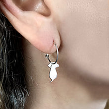 Load image into Gallery viewer, Dachshund Hoop Dangle Earrings - Silver |Friend - WeeShopyDog