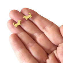 Load image into Gallery viewer, Corgi Stud Earrings - 14K Gold-Plated |Cardigan - WeeShopyDog