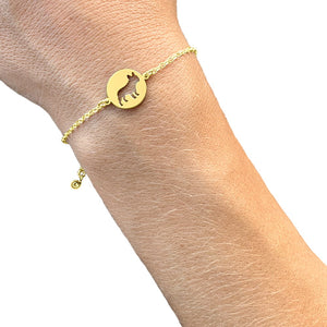 French Bulldog Charm Bracelet - Silver/14K Gold-Plated |Line Circle