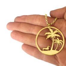 Load image into Gallery viewer, Dachshund Palm Tree Pendant Necklace - Silver/14K Gold-Plated - WeeShopyDog