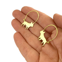 Load image into Gallery viewer, French Bulldog Hoop Earrings - Silver/14K Gold-Plated |Line - WeeShopyDog