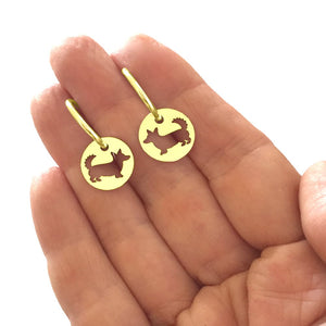 Cardigan Corgi Charm Hoop Earrings - 14K Gold Plated - WeeShopyDog