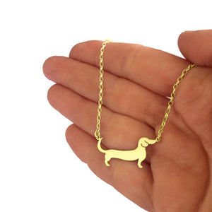 Dachshund Pendant Necklace - Silver/14K Gold-Plated |Line - WeeShopyDog