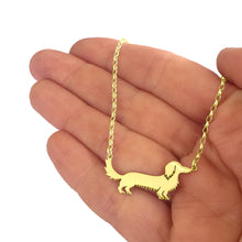 Load image into Gallery viewer, Long Haired Dachshund Pendant Necklace - Silver/14K Gold-Plated