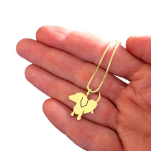 Load image into Gallery viewer, Dachshund Pendant Necklace - Silver/14K Gold-Plated |Up - WeeShopyDog