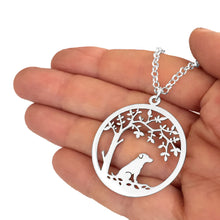 Load image into Gallery viewer, Jack Russell Pendant Necklace - Silver - Tree Of Life - WeeSopyDog