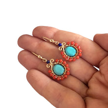 Load image into Gallery viewer, Boho Flower - 14K Gold Filled Turquoise Corals and Lapis - Dangle Drop Earrings - WeeShopyDog