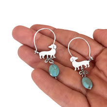 Load image into Gallery viewer, Dachshund Hoop Earrings - Silver and Turquoise |Beauty - WeeShopyDog