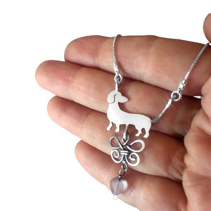 Dachshund Necklace and Hoop Earrings SET - Silver |Beauty Butterfly - WeeShopyDog