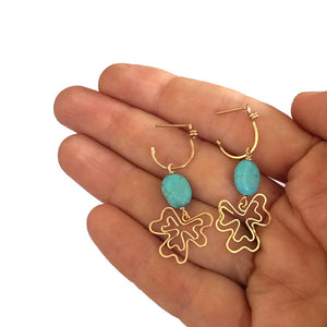 Boho Clover - 14K Gold Filled and Turquoise - Dangle Stud Hoop Earrings - WeeShopyDog