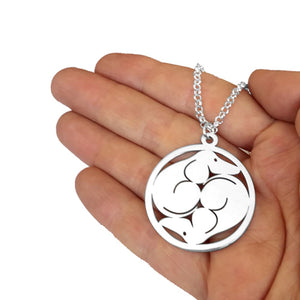 Dachshund Yin Yang Pendant Necklace - Silver/14K Gold-Plated - WeeShopyDog