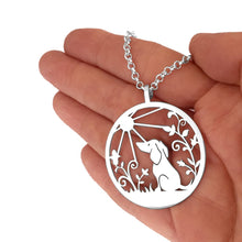 Load image into Gallery viewer, Dachshund Sunshine Pendant Necklace - Silver/14K Gold-Plated - WeeShopyDog