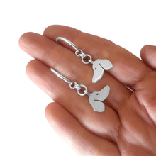 Load image into Gallery viewer, Dachshund Hoop Dangle Earrings - Silver |Side - WeeShopyDog