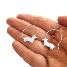 Load image into Gallery viewer, Corgi Hoop Earrings - Silver/14K Gold-Plated |Line - WeeShopyDog