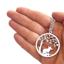 Load image into Gallery viewer, Corgi Little Tree Of Life Pendant Necklace - Silver/14K Gold-Plated - WeeShopyDog