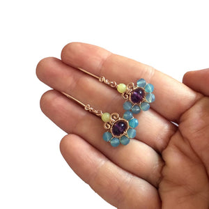 Boho Flower - 14K Gold Filled Amethyst and Agate - Dangle Drop Earrings - WeeShopyDog