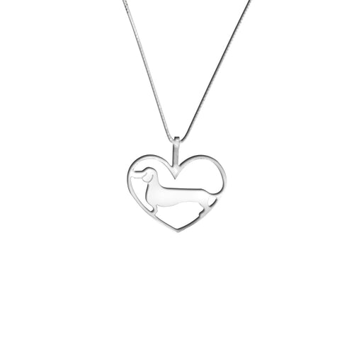 Dachshund Pendant Necklace - Silver/14K Gold-Plated |Line Heart - WeeShopyDog