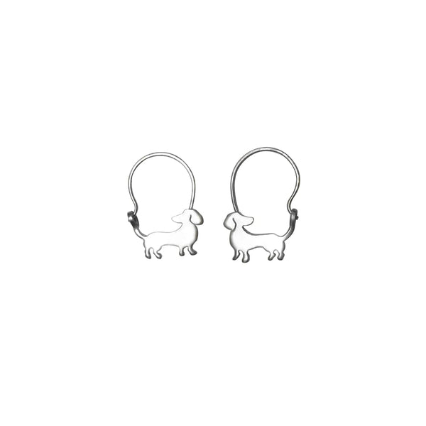 Dachshund Beauty - Handmade Silver Hoop Earrings - WeeShopyDog