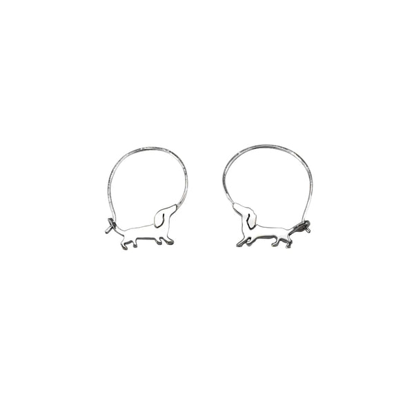 Dachshund Mood - Handmade Silver Hoop Earrings - WeeShopyDog