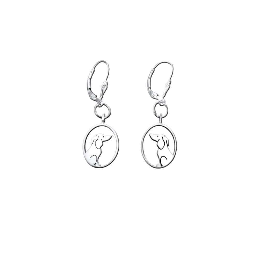 Dachshund Dangle Leverback Earrings - Silver |Image - WeeShopyDog