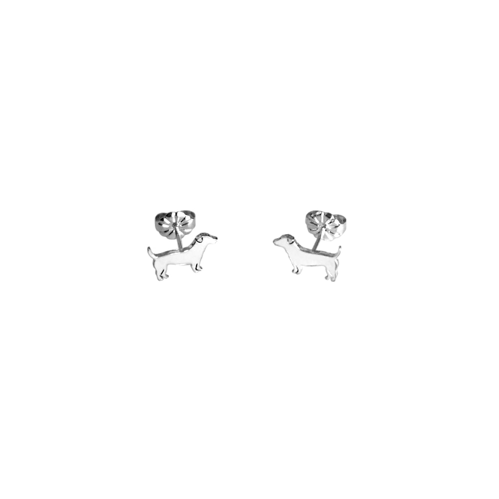 Jack Russell Earrings - Silver Stud - WeeShopyDog