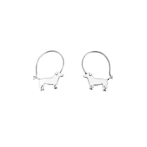 Jack Russell Hoop Earrings - Silver - WeeShopyDog
