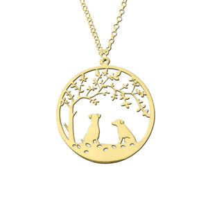 Jack Russell Necklace - 14K Gold-Plated - Tree Of Life - WeeSopyDog