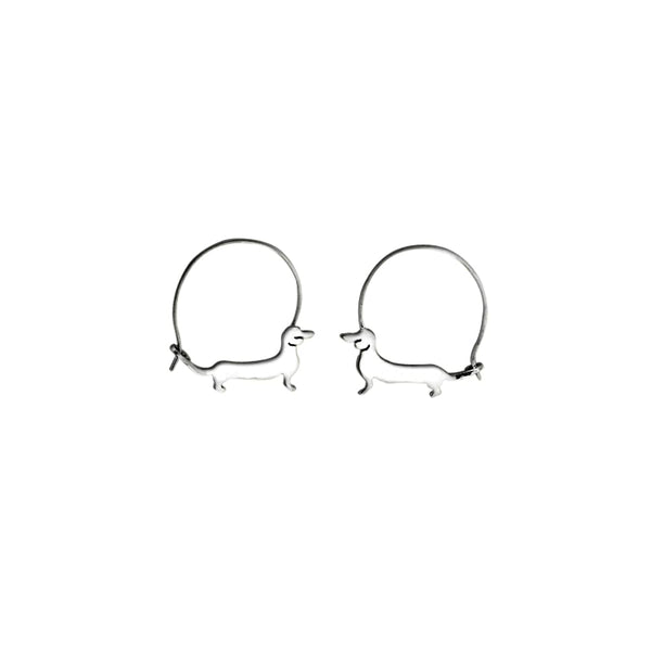 Dachshund Line - Handmade Silver Hoop Earrings - WeeShopyDog